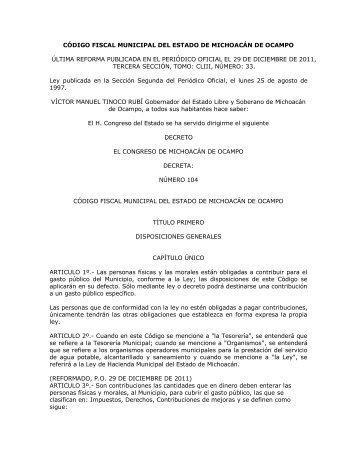 codigo fiscal municipal del estado de michoacan de ocampo