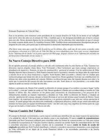Su Nuevo Consejo Directivo para 2008 Nuevos ... - Vida del Mar