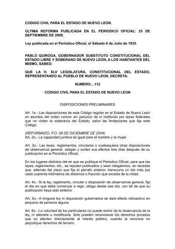 CODIGO CIVIL PARA EL ESTADO DE NUEVO LEON