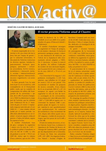 El rector presenta l'Informe anual al Claustre