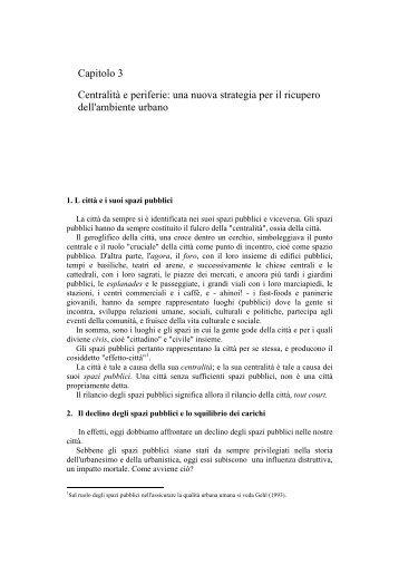 Capitolo 3 Centralità e periferie - Prof. Franco Archibugi