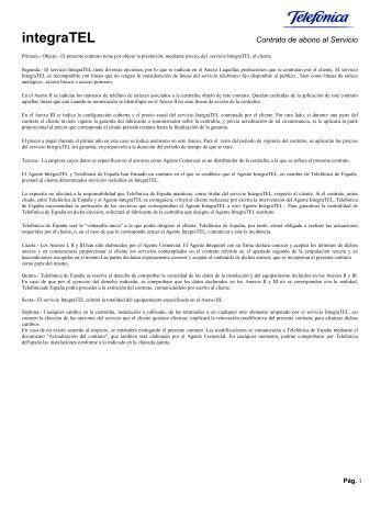 Condiciones del Servicio de mantenimiento Integratel - Movistar