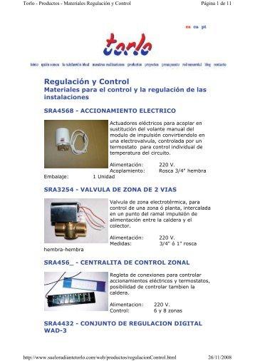 Torlo - Productos - Materiales Regulación y Control