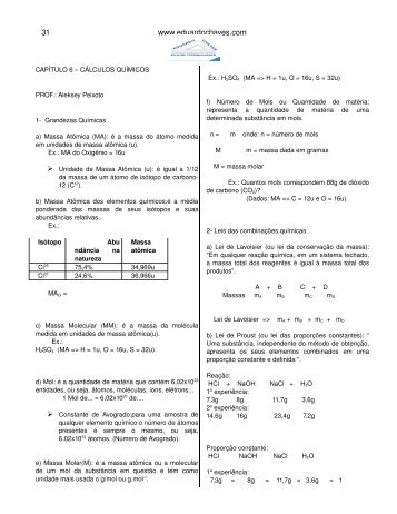 CAPÍTULO 6 – CÁLCULOS QUÍMICOS