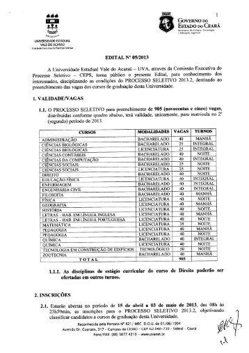 Edital Nº 05/2013 - Processo Seletivo 2013.2 - Vestibular da uva