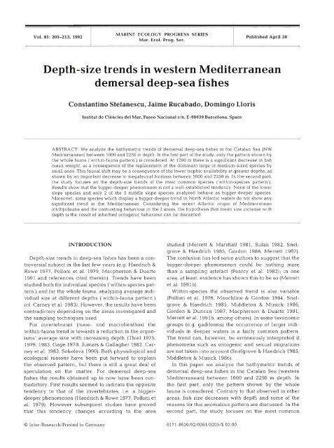 Depth-size trends in western Mediterranean demersal deep-sea fishes