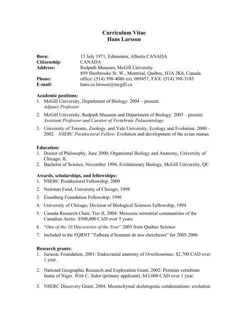 Full Curriculum Vitae Pdf Format Mcgill University