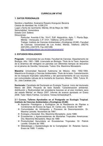 CURRICULUM VITAE 1. DATOS PERSONALES Nombre y Apellidos