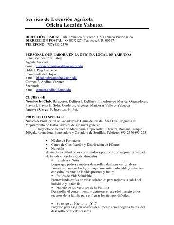 Servicio de Extensión Agrícola Oficina Local de Yabucoa - Uprm.edu