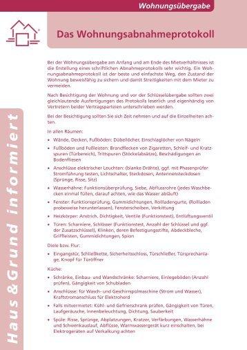 das wohnungsabnahmeprotokoll haus grund flensburg - Wohnungsubergabeprotokoll Muster