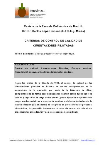 CRITERIOS DE CONTROL DE CALIDAD - ingecim