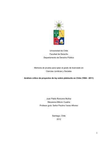1 Universidad de Chile Facultad de Derecho Departamento de ...