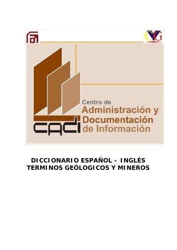 diccionario español – inglés terminos geólogicos y mineros