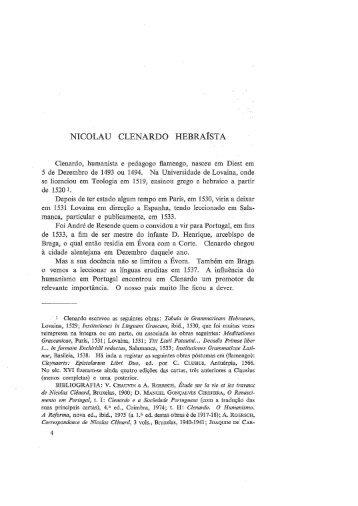 NICOLAU CLENARDO HEBRAÍSTA - Universidade de Coimbra