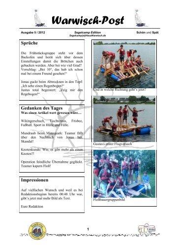 Warwisch Post Ausgabe 5 / 2012 - Schön und Spät - Haus Warwisch