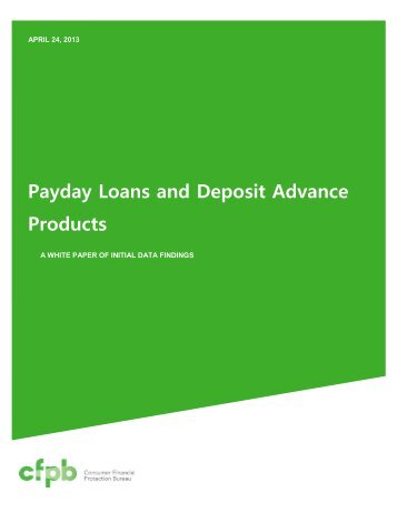 Payday Loans and Deposit Advance Products
