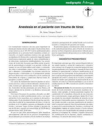 Anestesia en el paciente con trauma de tórax - edigraphic.com