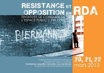 resistance et opposition en rda - Calenda