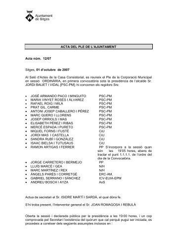 ACTA DEL PLE DE L'AJUNTAMENT - Ajuntament de Sitges