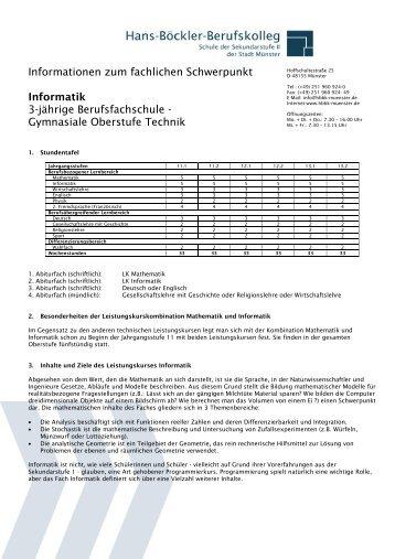 Informationen zum fachlichen Schwerpunkt Informatik 3-jährige ...