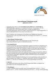 Sparordnung/Teilnahmeregeln des Gewinnsparvereins Südwest e.V.
