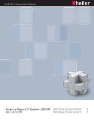 Quarterly Report Q3 2007 / 2008 - Heiler Software AG
