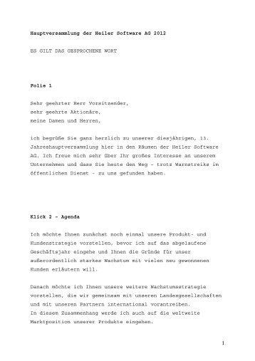 Rede Rolf J. Heiler - Heiler Software AG