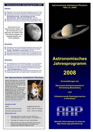 Astronomisches Jahresprogramm 2008 - Sternwarte ...