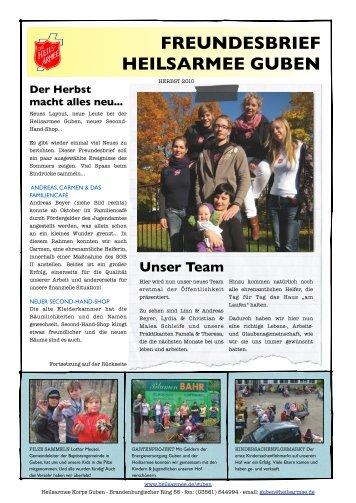 FREUNDESBRIEF HEILSARMEE GUBEN - Die Heilsarmee