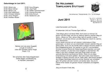 Juni 2011 - Die Heilsarmee