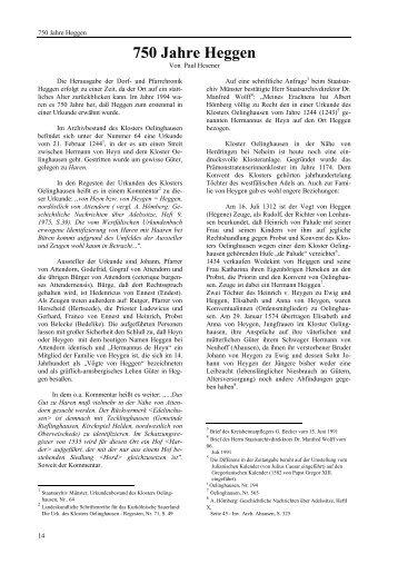 750 Jahre Heggen - Heimatbund Finnentrop