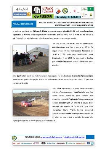 Nota de Premsa 2 - Escuderia Lleida
