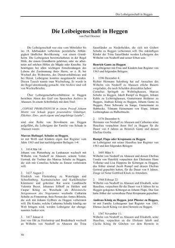 Die Leibeigenschaft in Heggen - Heimatbund Finnentrop