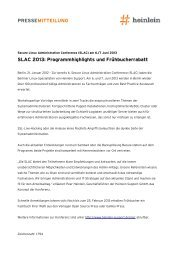 PRESSEMITTEILUNG SLAC 2013: Programmhighlights ... - Heinlein