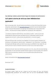 Pressemitteilung zu www.admin-stories.de - Heinlein