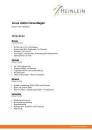 Linux Admin Grundlagen Ablaufplan - Heinlein