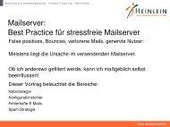 Best Practice für stressfreie Mailserver - Heinlein