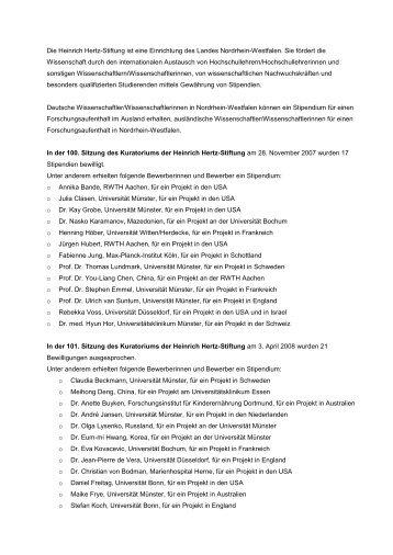 Deutsche Wissenschaftler/Wissenschaftlerinnen in Nordrhein