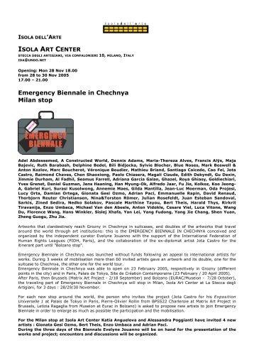 Emergency Biennale in Chechnya Milan stop