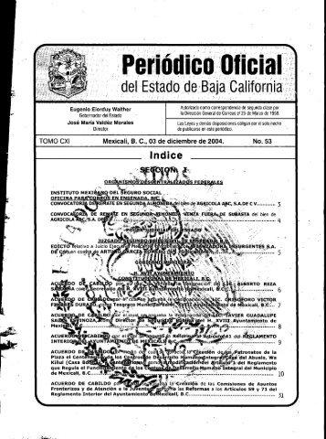 Sección I - Gobierno del Estado de Baja California