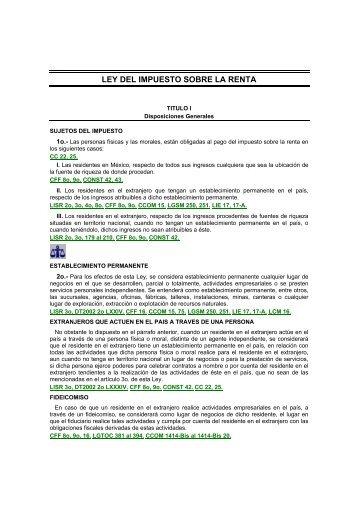 LEY DEL IMPUESTO SOBRE LA RENTA - Práctica Fiscal