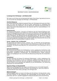 "Infoblatt ""Leistungen bei Schwanger- und Mutterschaft"" - HEK"