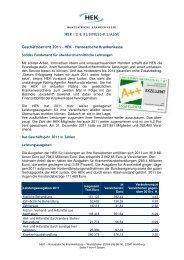 Geschäftsbericht 2011 – HEK – Hanseatische Krankenkasse
