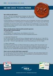 Die HeK zaHlt 75 euro Prämie