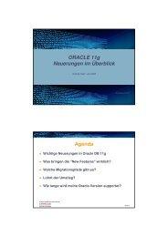 ORACLE 11g Neuerungen im Überblick Agenda - Held Informatik