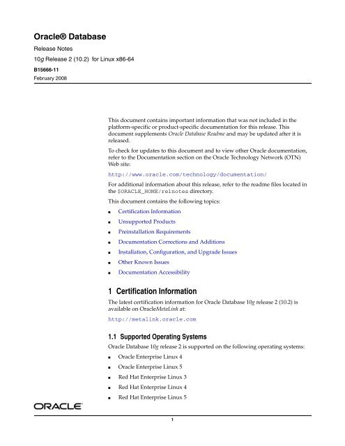 Oracle Database Release Notes - Stanford University