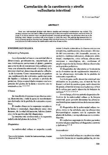 Correlacion de la carotinemia y atrofia vellositaria intestinal - SciELO