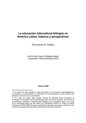 La educación intercultural bilingüe en América Latina - Simon ...