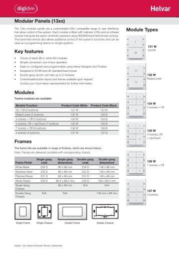Modular Panels (13xx) Key features Modules Frames ... - Helvar
