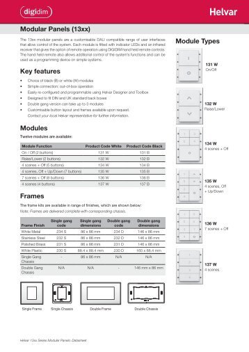 Modular Panels (13xx) Key features Modules Frames ... - Helvar